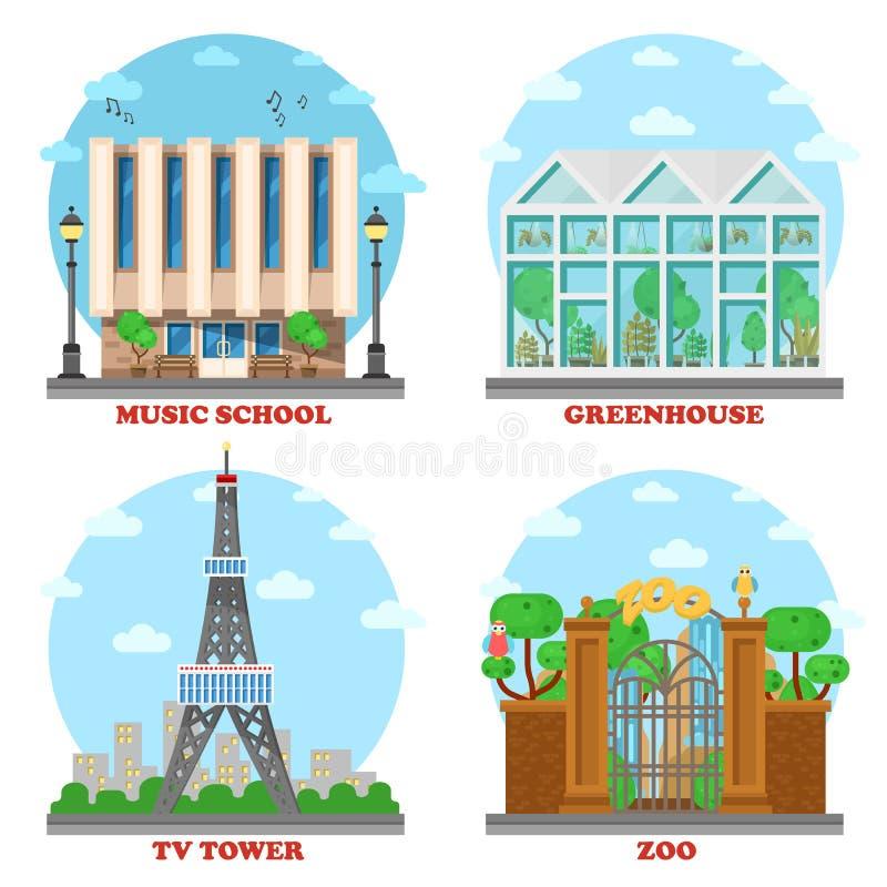 TV-station och musikskola, zoo, växthus stock illustrationer