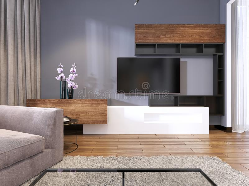 TV Storage With Shelves In Modern Living Room With Corner Big Sofa ...