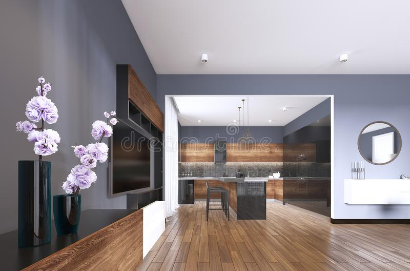 TV storage with vase in studio apartment with kitchen. Living room contemporary style. 3d rendering royalty free illustration