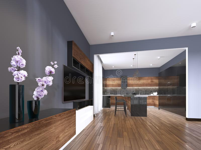 TV storage with vase in studio apartment with kitchen. Living room contemporary style. 3d rendering stock illustration