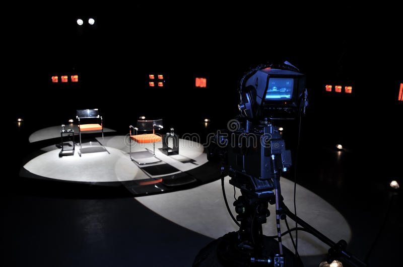 TV studio. Professional TV studio for production talk show stock image