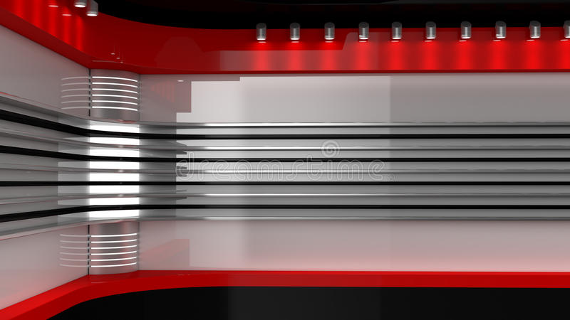 Tv Studio. Backdrop for TV shows .TV on wall. News studio. The p. Erfect backdrop for any green screen or chroma key video or photo production. 3D rendering royalty free illustration
