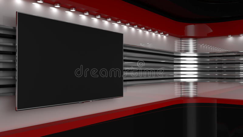 Tv Studio. Backdrop for TV shows .TV on wall. News studio. The perfect backdrop for any green screen or chroma key video or photo production. 3D rendering vector illustration