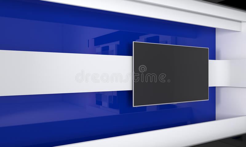 Tv Studio. Backdrop for TV shows .TV on wall. News studio. The perfect backdrop for any green screen or chroma key video or photo. Production. 3d render vector illustration