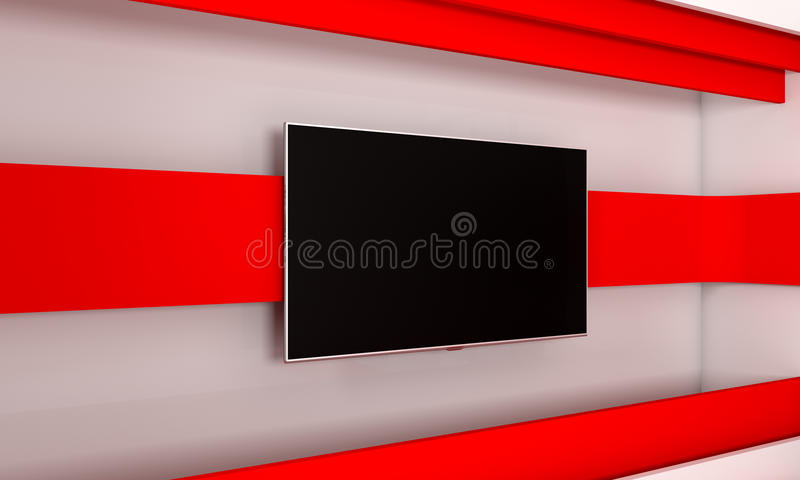 Tv Studio. Backdrop for TV shows .TV on wall. News studio. The perfect backdrop for any green screen or chroma key video or photo. Production. 3d render stock illustration
