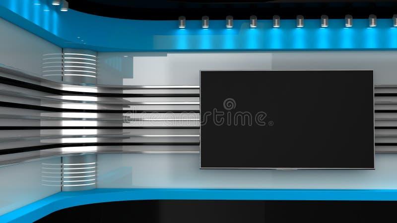 Tv studio blauwe studio de achtergrond voor tv toont tv op muur nieuws s stock illustratie - Decoratie studio ontwerp ...