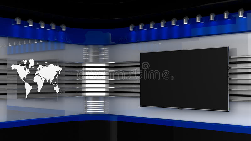 Tv Studio. Blue studio. Backdrop for TV shows .TV on wall. News studio. The perfect backdrop for any green screen or chroma key video or photo production. 3D royalty free illustration