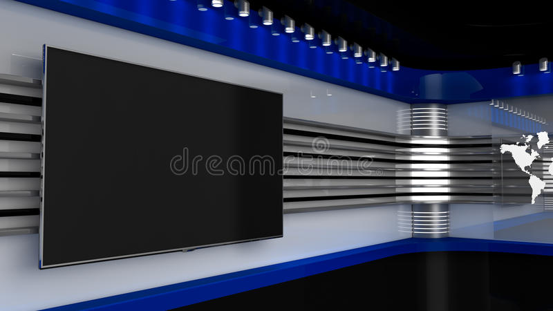 Tv Studio. Blue studio. Backdrop for TV shows .TV on wall. News studio. The perfect backdrop for any green screen or chroma key video or photo production. 3D stock illustration