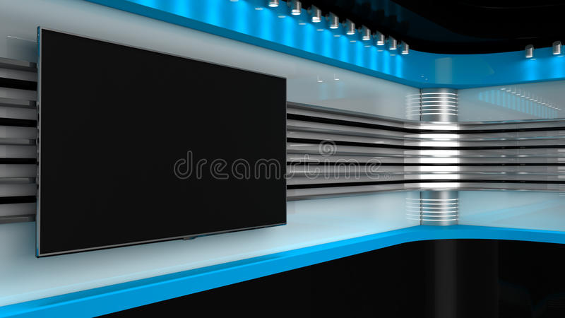 Tv Studio. Blue studio. Backdrop for TV shows .TV on wall. News s. Tudio. The perfect backdrop for any green screen or chroma key video or photo production. 3D royalty free illustration