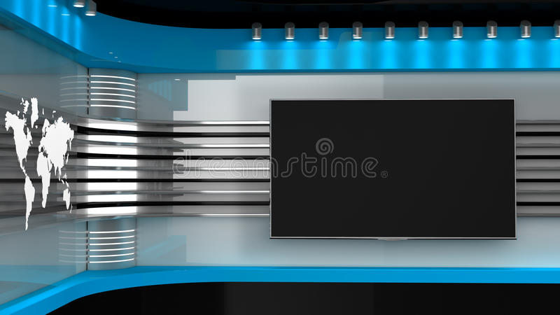 Tv Studio. Blue studio. Backdrop for TV shows .TV on wall. News s royalty free illustration