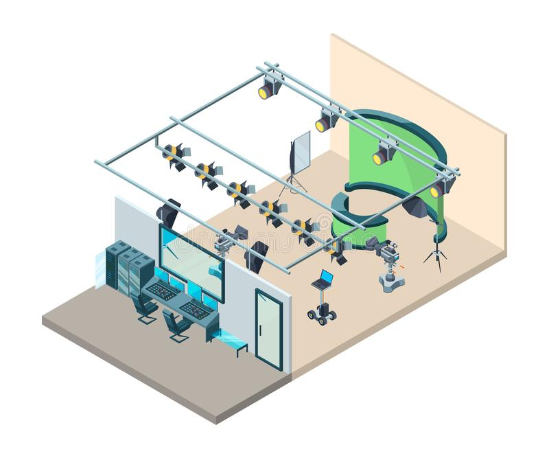 Tv studio interior. Television production room with professional equipment video cameras flashes softboxes tripod vector. Isometric. Tv professional production stock illustration