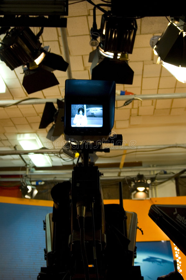 TV studio and lights. TV news studio for broadcast production