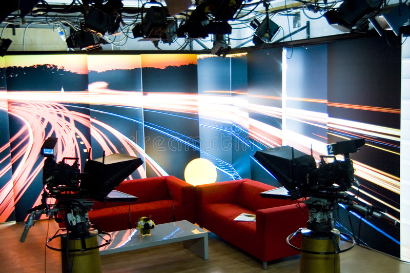 TV studio and lights. TV news professional studio for broadcast production