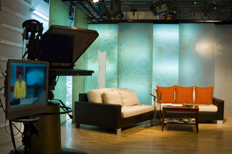 TV studio and lights. Studio is prepared for the production and shooting