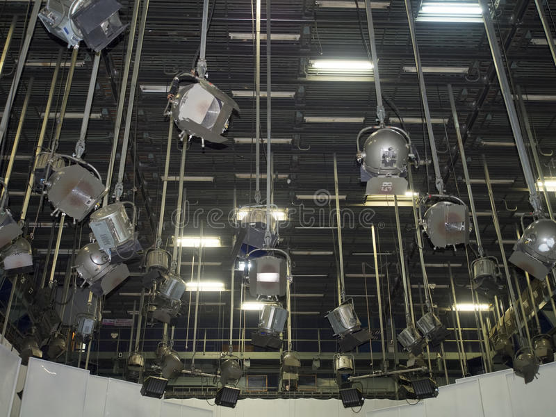 TV studio lights. The ceiling of a TV studio with the lighting equipment royalty free stock images