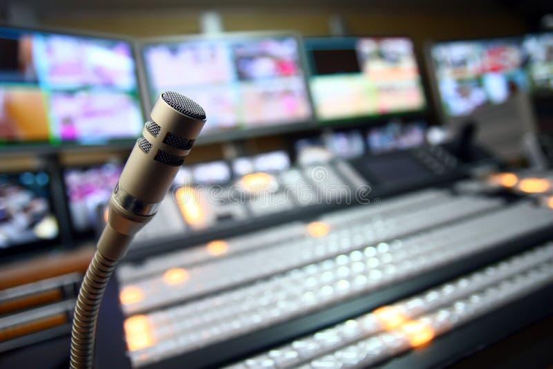 TV studio microphone stock photography
