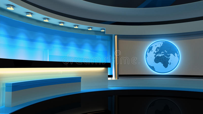 Tv Studio. News studio. Blue studio. The perfect backdrop. For any green screen or chroma key video or photo production. 3D rendering royalty free illustration