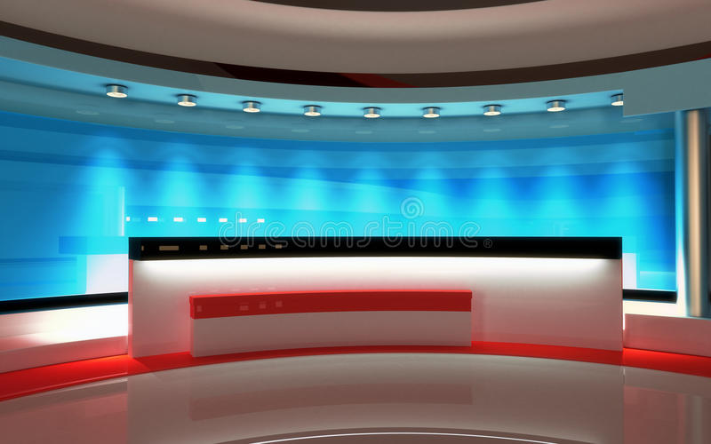 Tv Studio. News studio, Studio set. Tv Studio set. The perfect backdrop for any green screen or chroma key video or photo production. 3d render. 3d visualisation royalty free illustration