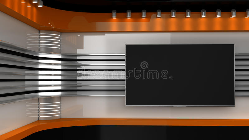 Tv Studio. Orange studio. Backdrop for TV shows .TV on wall. News studio. The perfect backdrop for any green screen or chroma key video or photo production. 3D vector illustration