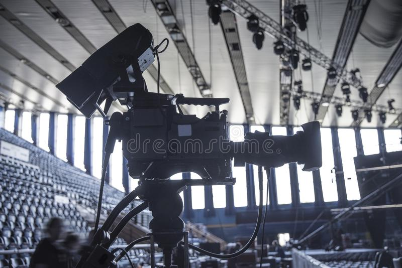 TV studio. For filming programs and news royalty free stock image