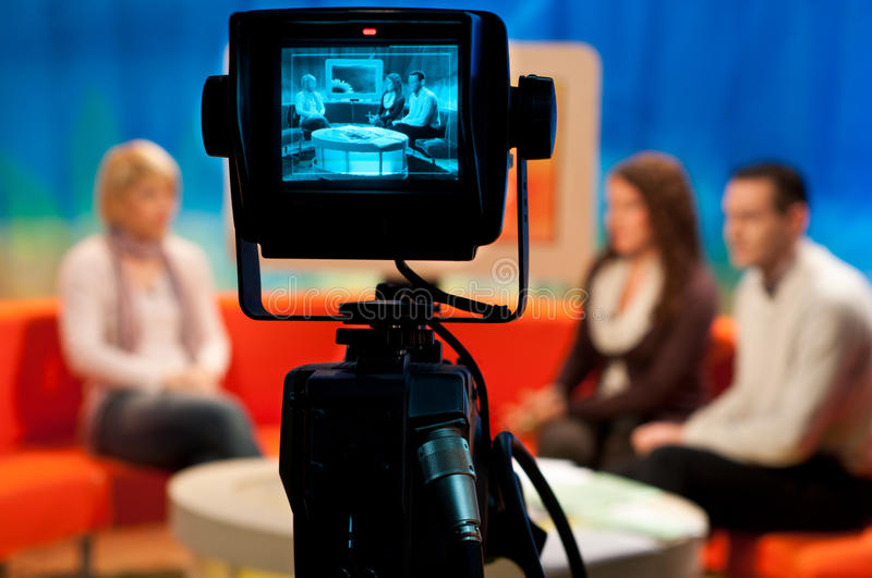 TV studio - Video camera viewfinder royalty free stock photos