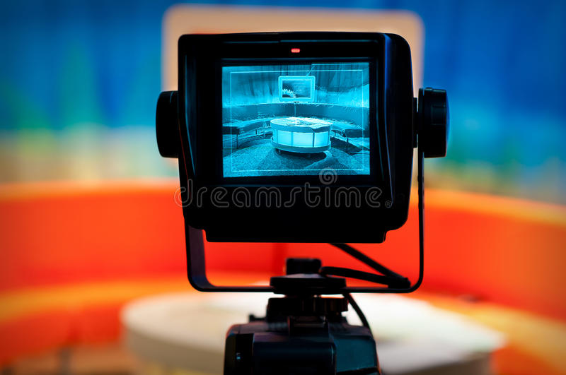 TV Studio - Video Camera Viewfinder Royalty Free Stock Image