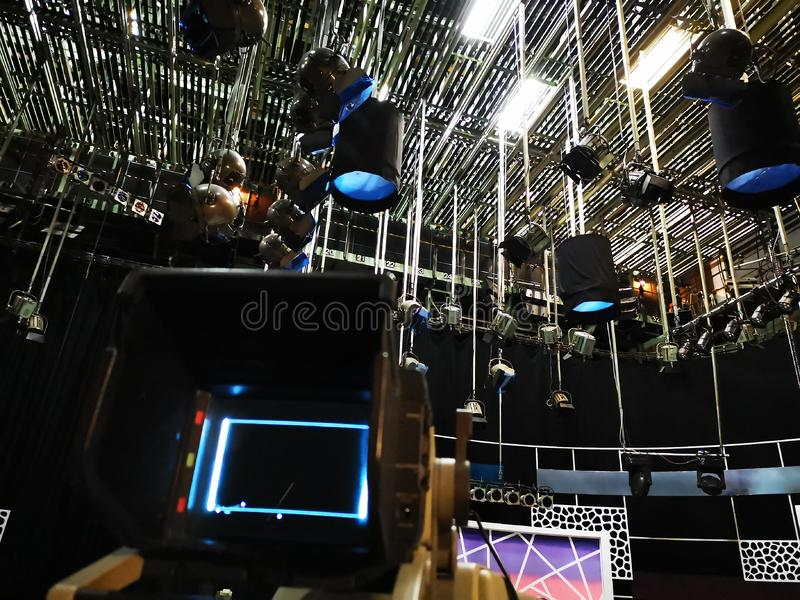 TV studio - video camera viewfinder stock photography