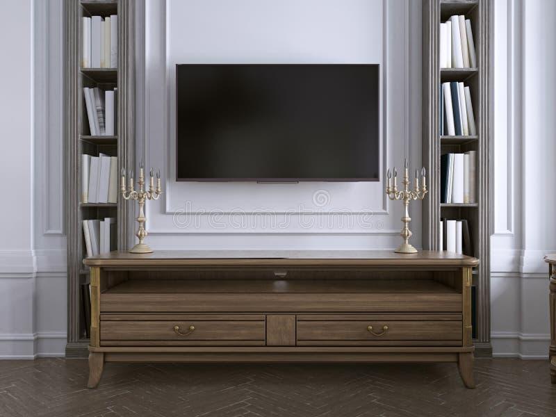 TV sulla parete con il gabinetto in salone classico, molti scaffali per libri sul fondo bianco posteriore della parete royalty illustrazione gratis
