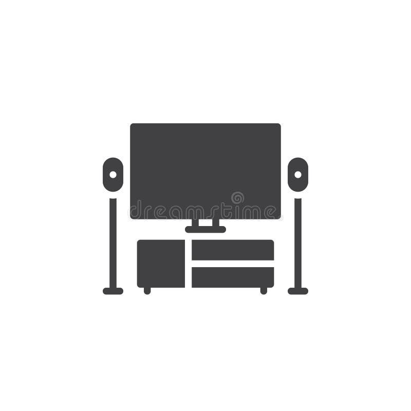 TV symbolsvektor för hem- teater, fyllt plant tecken vektor illustrationer