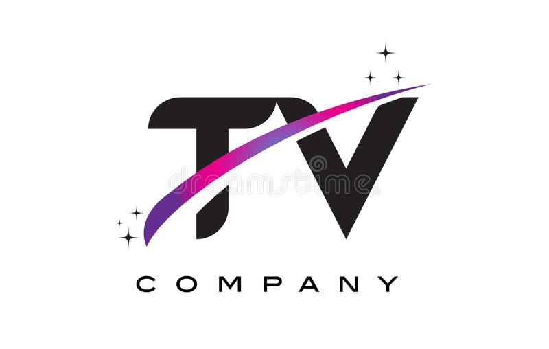 TV T V Black Letter Logo Design with Purple Magenta Swoosh. And Stars stock illustration