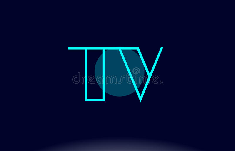 tv t v blue line circle alphabet letter logo icon template vector design royalty free illustration