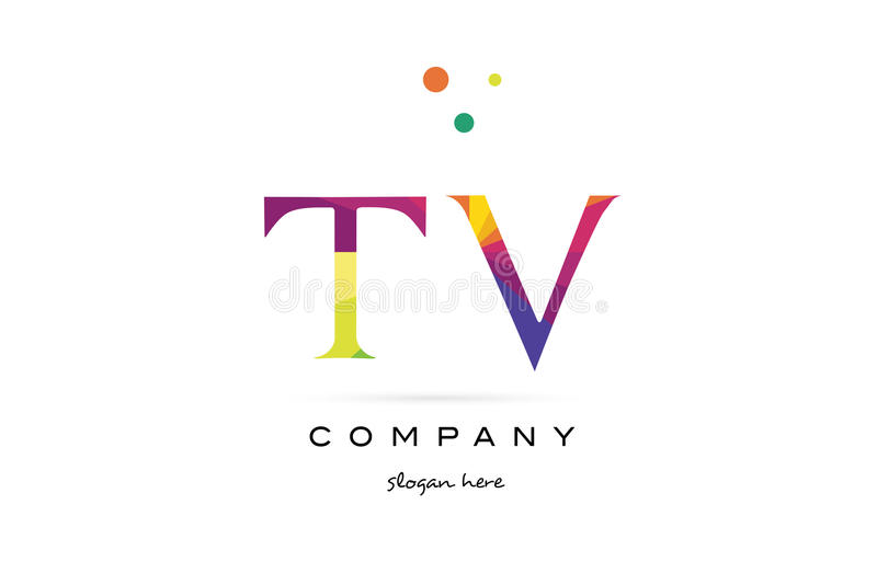 tv t v creative rainbow colors alphabet letter logo icon stock illustration