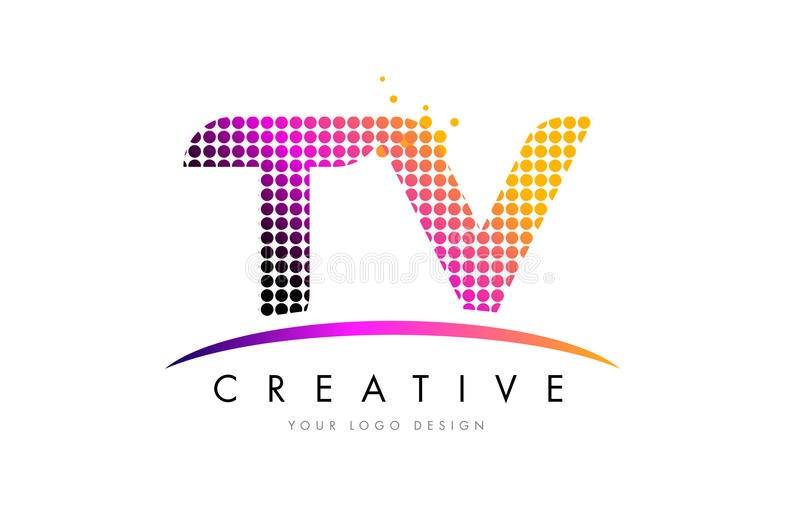 TV T V Letter Logo Design with Magenta Dots and Swoosh. TV T V Dots Letter Logo Design with Magenta Bubble Circles and Swoosh stock illustration