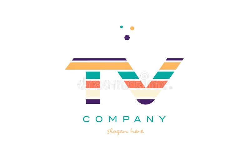 tv t v line stripes pastel color alphabet letter logo icon template vector royalty free illustration
