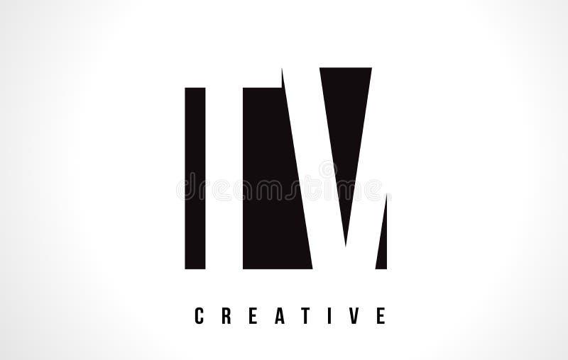 TV T V Witte Brief Logo Design met Zwart Vierkant stock illustratie