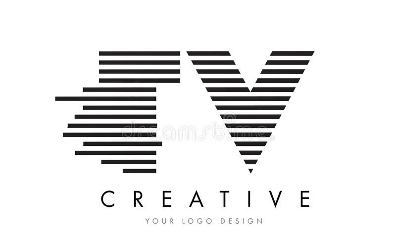 TV T V Zebra Letter Logo Design with Black and White Stripes. Vector royalty free illustration