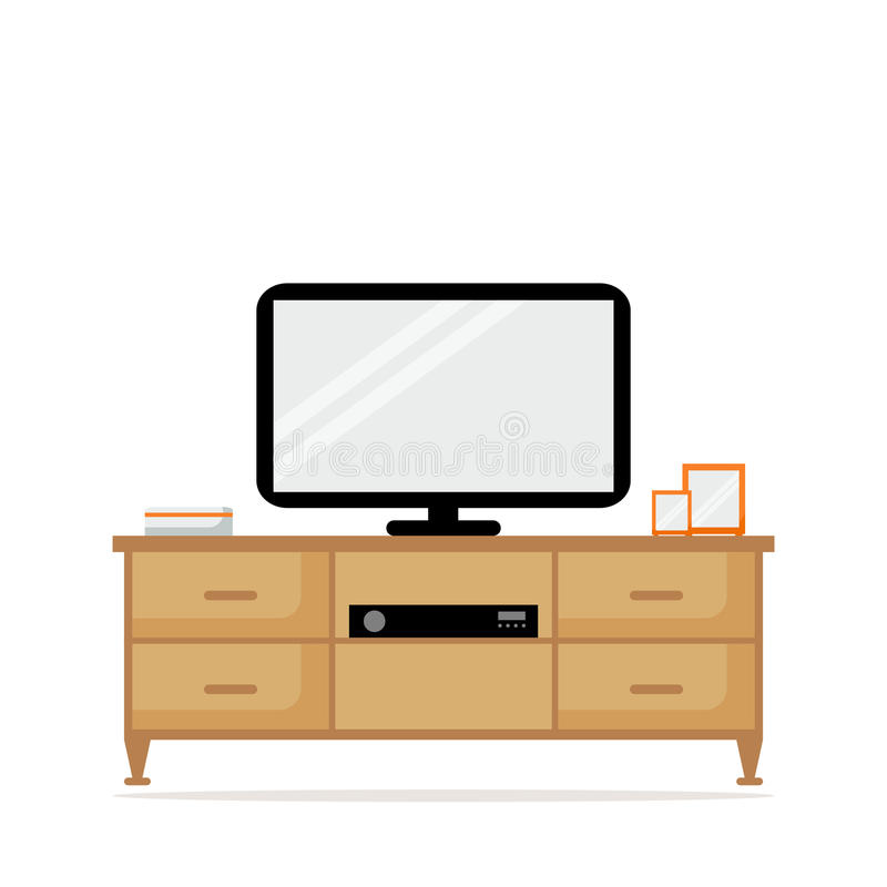 Download TV Table With TV Set Isolated Icon. TV Set With Tuner. Stock Vector