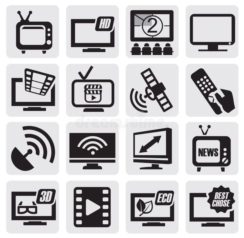 TV technology set. Vector black TV technology icons set on gray royalty free illustration