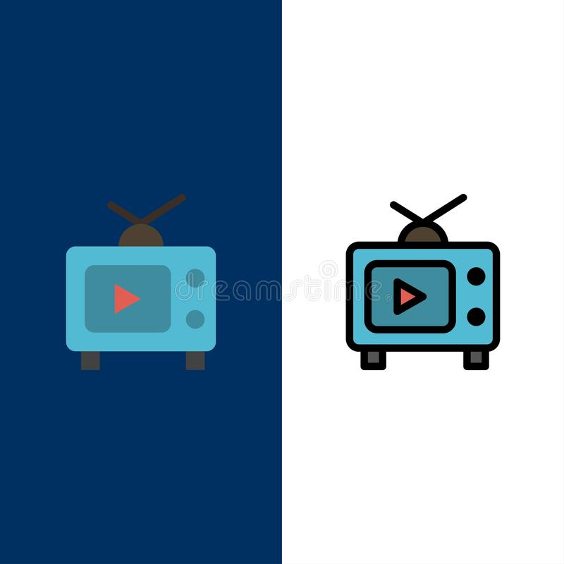 TV, Television, Play, Video  Icons. Flat and Line Filled Icon Set Vector Blue Background vector illustration
