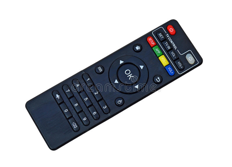 TV Television Remote control Isolated With PNG File. A Television and Satellite remote isolated on a white background and also has the PNG file attached isolated royalty free stock images