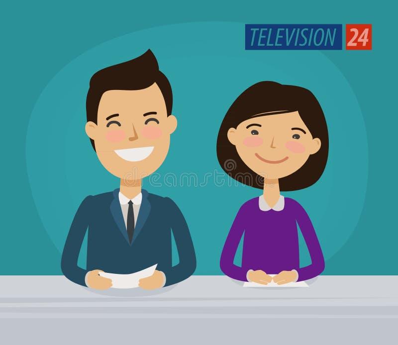 Tv, telewizyjny pojęcie Wiadomość spiker w studiu obcy kreskówki kota ucieczek ilustraci dachu wektor royalty ilustracja
