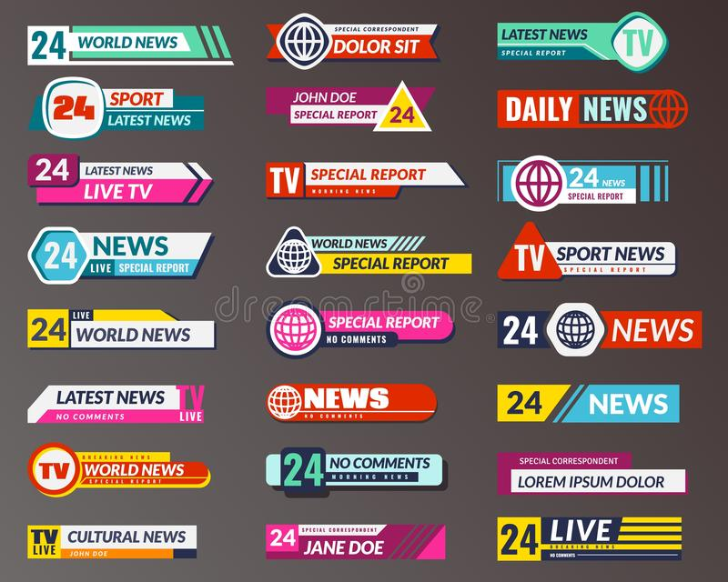 Tv title. Broadcasting banner graphic interfaces, tv streaming lower bar. Breaking, fake and sport news screen header. Vector isolated symbols game strip vector illustration