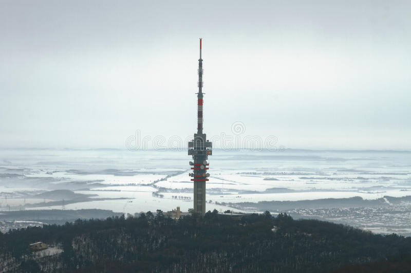 TV Tower above the snowy landscape stock image
