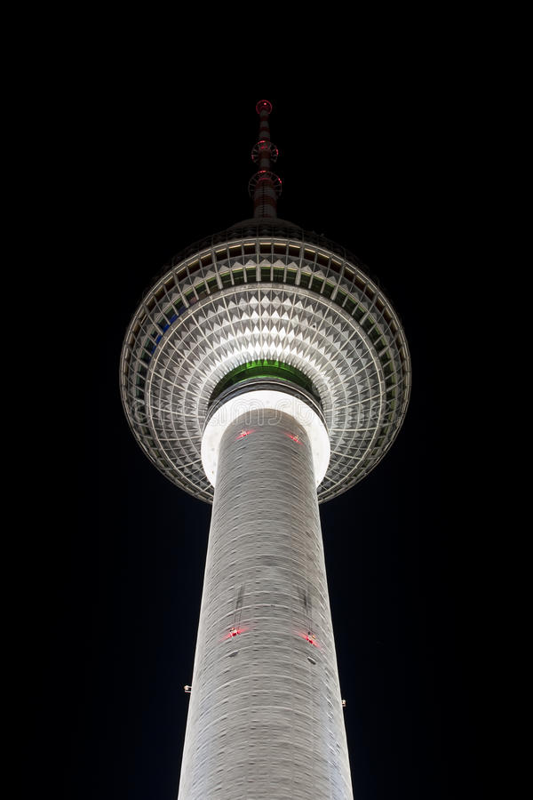 TV tower in Berlin at night royalty free stock photography