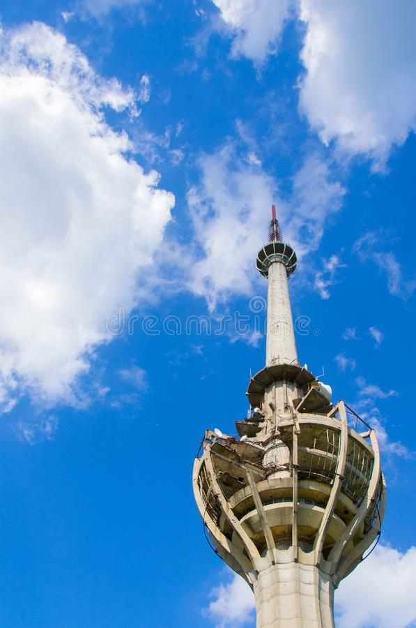 TV tower damaged in NATO bombing stock photos