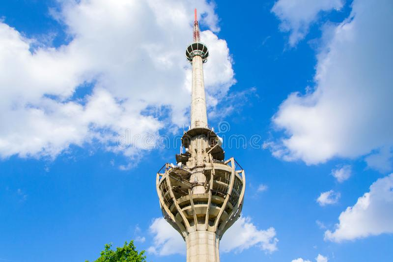 TV tower damaged in NATO bombing royalty free stock photo