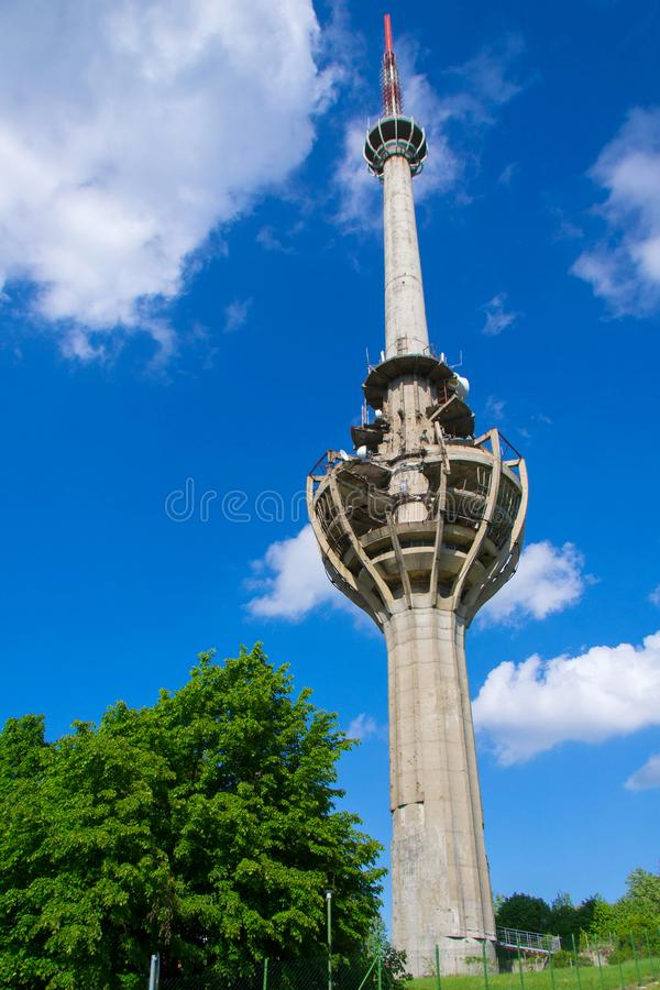 TV tower damaged in NATO bombing royalty free stock image