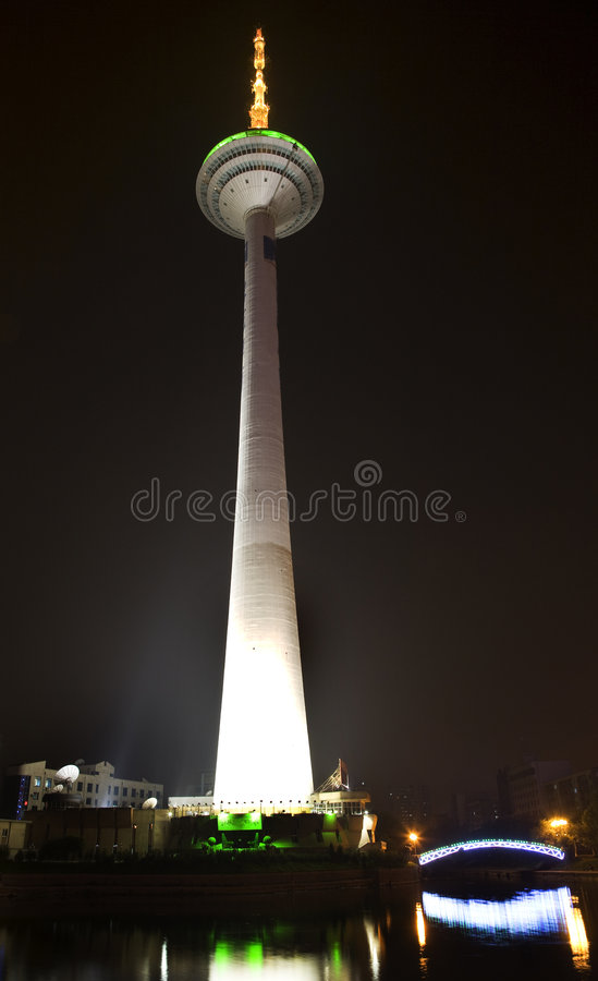 TV Tower Shenyang Liaoning Province China. TV Tower Shenyang, Liaoning Province, China, Water, Bridge, Reflection, Night, Lights Trademarks removed royalty free stock photography