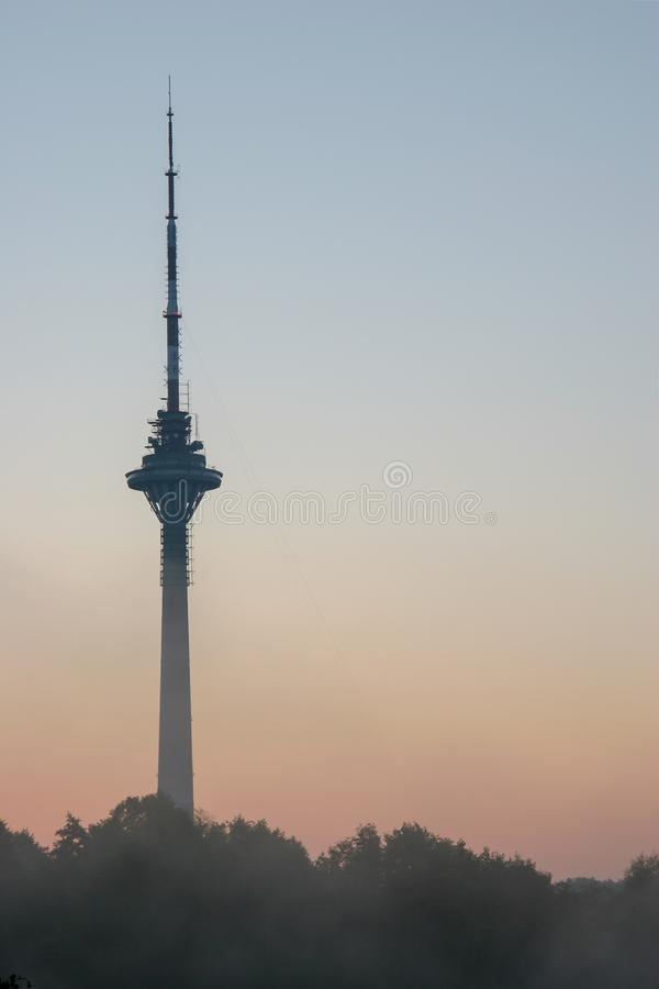TV tower in Tallinn at dawn over the trees against the sky. royalty free stock photography