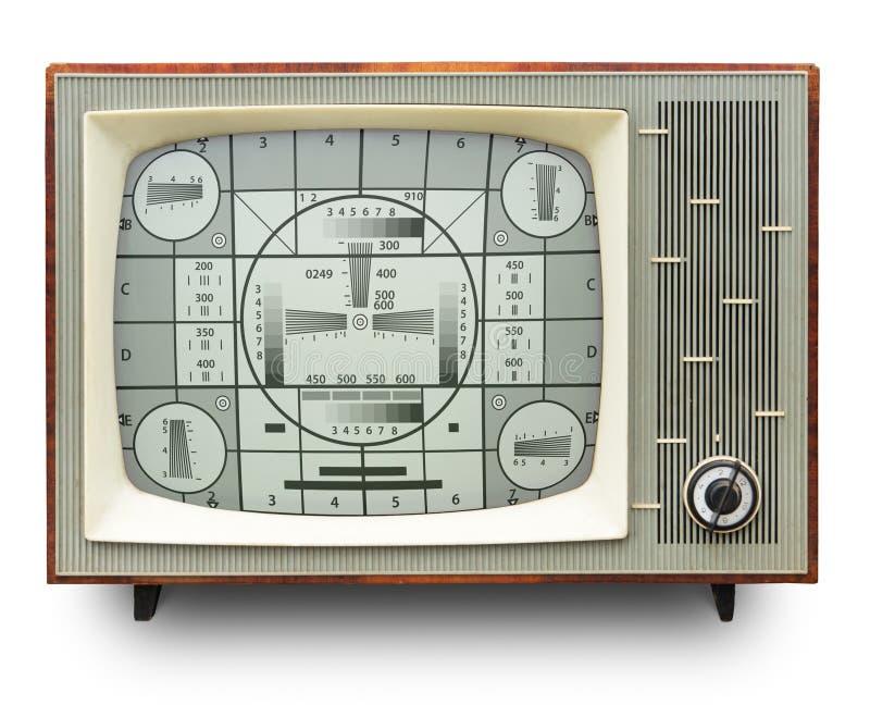 TV transmission test card on vintage tv set stock photos